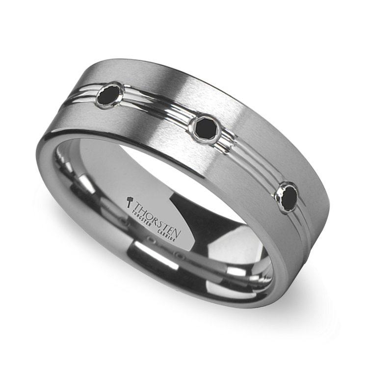 Satin Black Diamond Men's Wedding Ring in Tungsten | 01