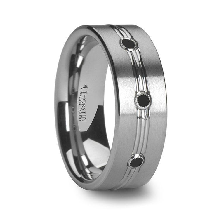 Satin Black Diamond Men's Wedding Ring in Tungsten | 02