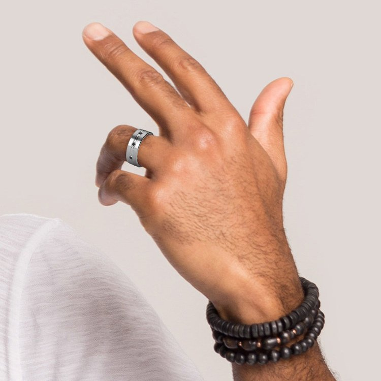 Satin Black Diamond Men's Wedding Ring in Tungsten | 05