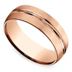 Satin Center-Cut Men's Wedding Ring in Rose Gold   Thumbnail 01