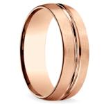 Satin Center-Cut Men's Wedding Ring in Rose Gold   Thumbnail 02