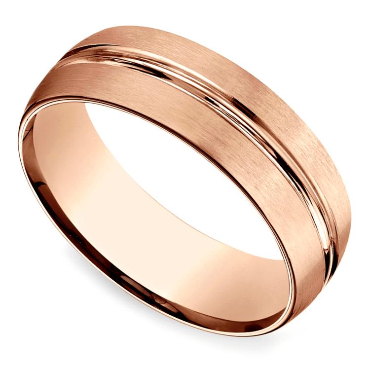 Satin Center-Cut Men's Wedding Ring in Rose Gold   01