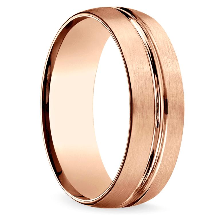 Satin Center-Cut Men's Wedding Ring in Rose Gold   02