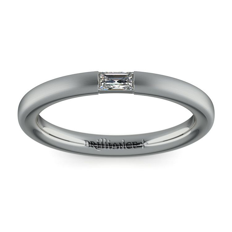 Satin Promise Ring with Baguette Diamond in White Gold (2.5mm) | 02