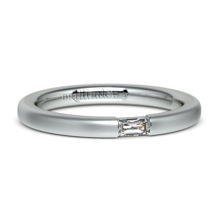 Satin Promise Ring with Baguette Diamond in White Gold (2.5mm) | 04