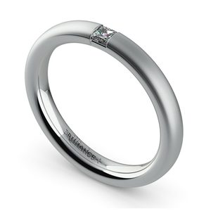 Satin Promise Ring with Princess Diamond in White Gold (2.9mm)