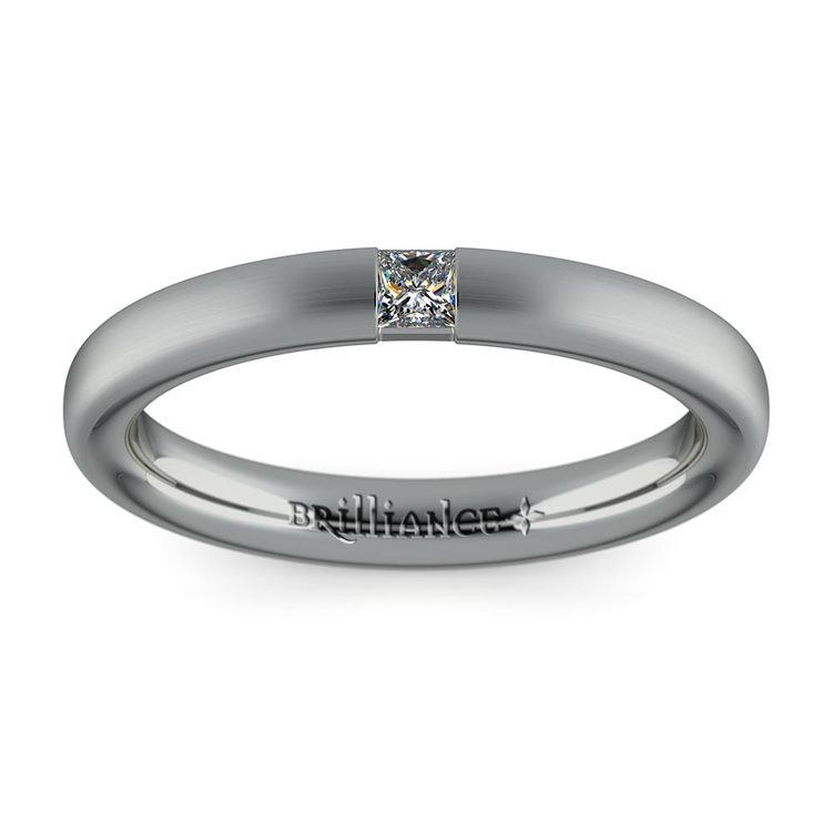 Satin Promise Ring with Princess Diamond in White Gold (2.9mm) | 02