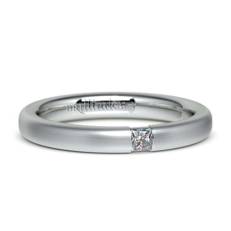 Satin Promise Ring with Princess Diamond in White Gold (2.9mm) | 04