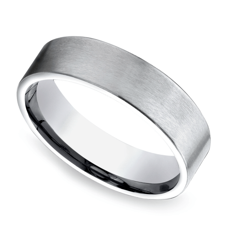 Satin Men's Wedding Ring in Platinum | 01