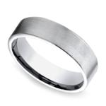Satin Men's Wedding Ring in White Gold | Thumbnail 01