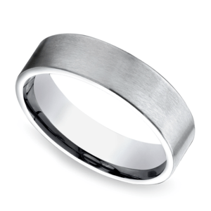Satin Men's Wedding Ring in White Gold