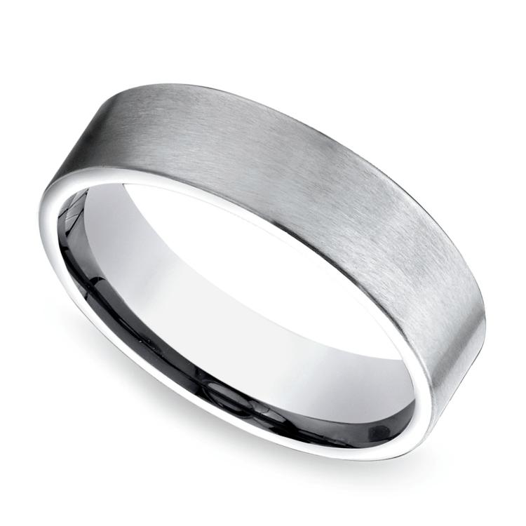 Satin Men's Wedding Ring in White Gold | 01