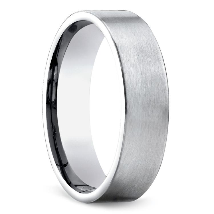 Satin Men's Wedding Ring in White Gold | 02