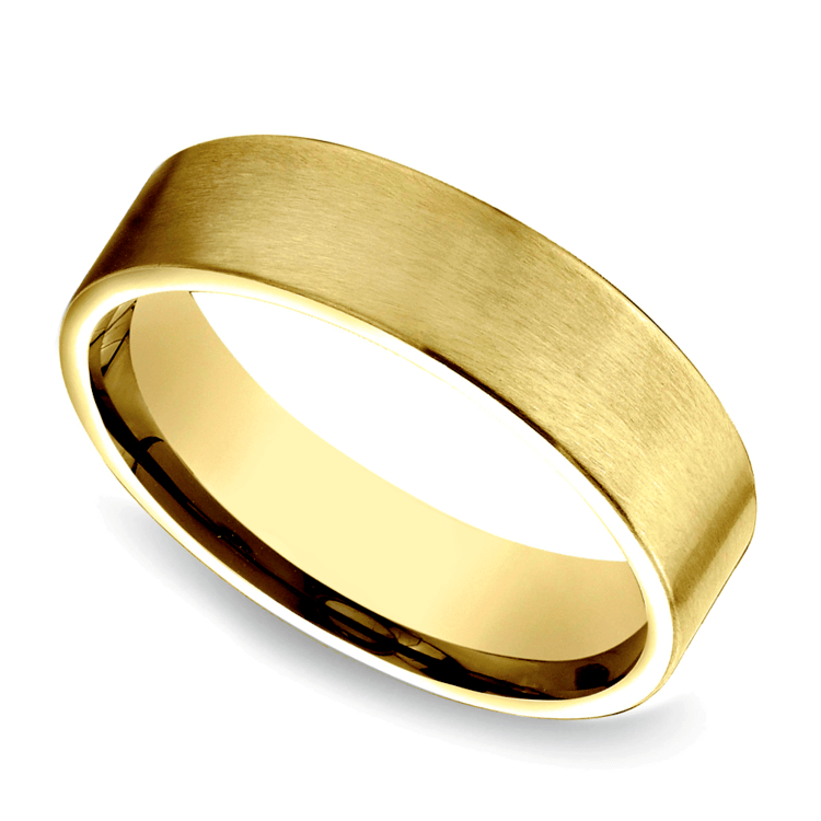 Satin Men's Wedding Ring in Yellow Gold   01