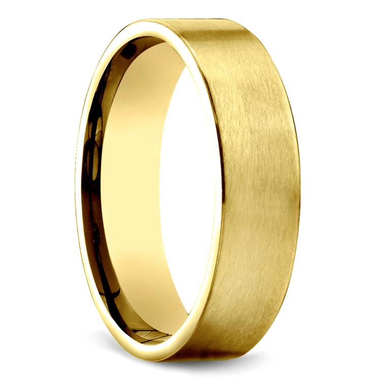 Satin Men's Wedding Ring in Yellow Gold   02