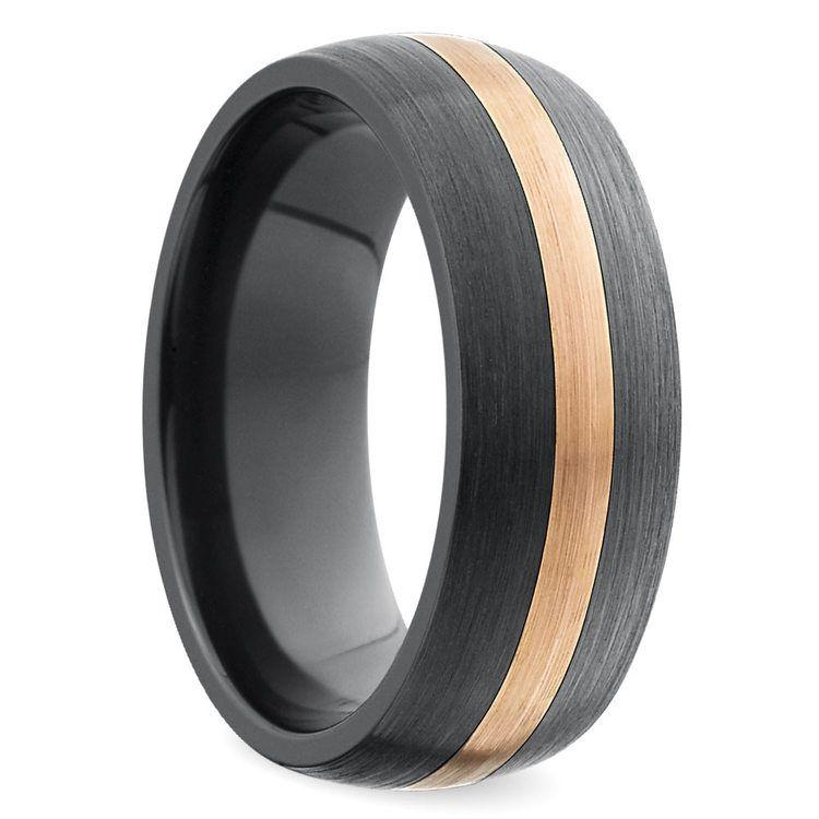 Satin Rose Inlay Men's Wedding Ring in Zirconium | 02