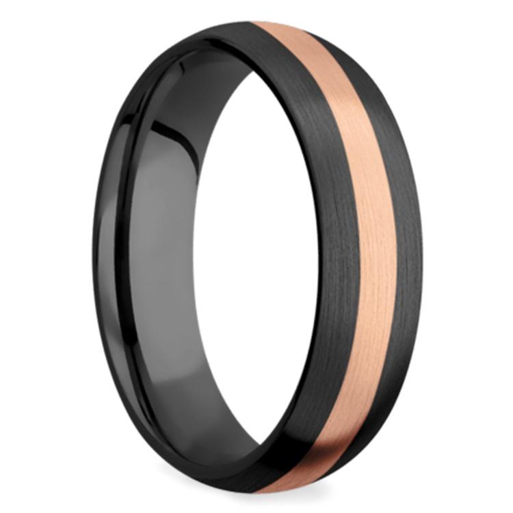 Satin Rose Inlay Wedding Ring in Zirconium | 02