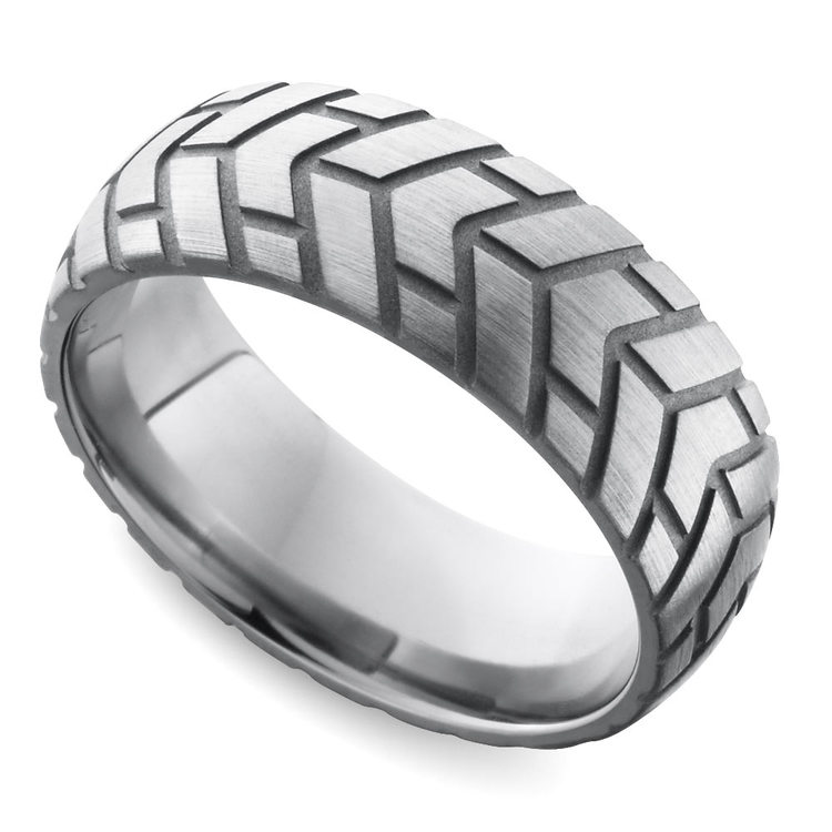 Satin Finish Tire Tread Men's Wedding Ring in Titanium | 01