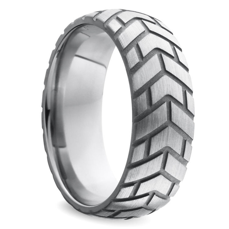 Satin Finish Tire Tread Men's Wedding Ring in Titanium | 02