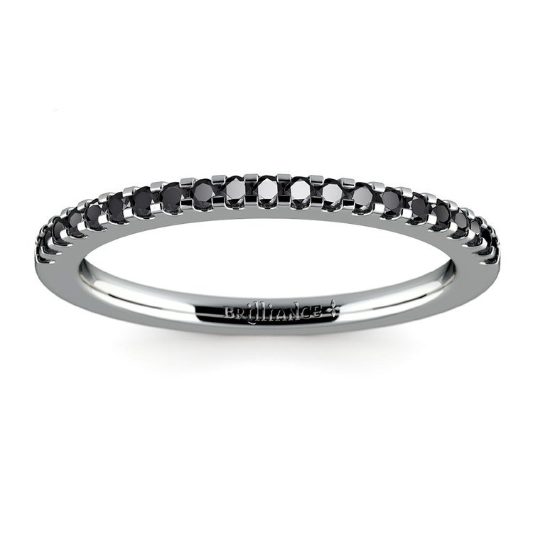 Scallop Black Diamond Wedding Ring in Platinum (1/4 ctw) | 02