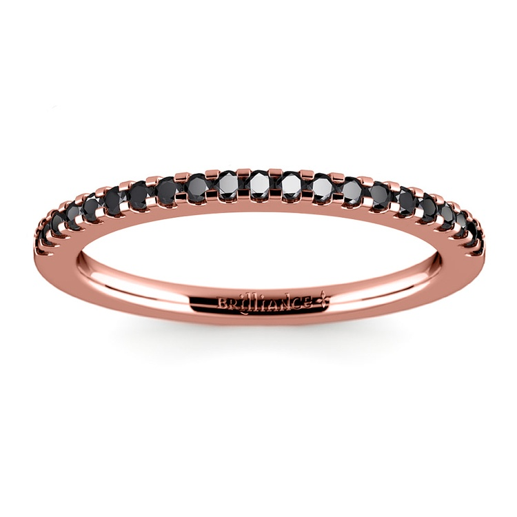 Scallop Black Diamond Wedding Ring in Rose Gold (1/4 ctw) | 02