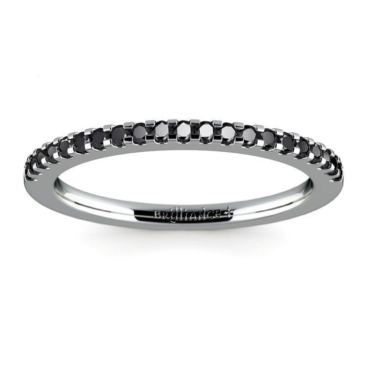 Scallop Black Diamond Wedding Ring in White Gold (1/4 ctw) | 02