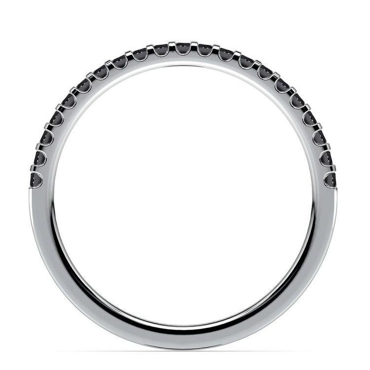 Scallop Black Diamond Wedding Ring in White Gold (1/4 ctw) | 03