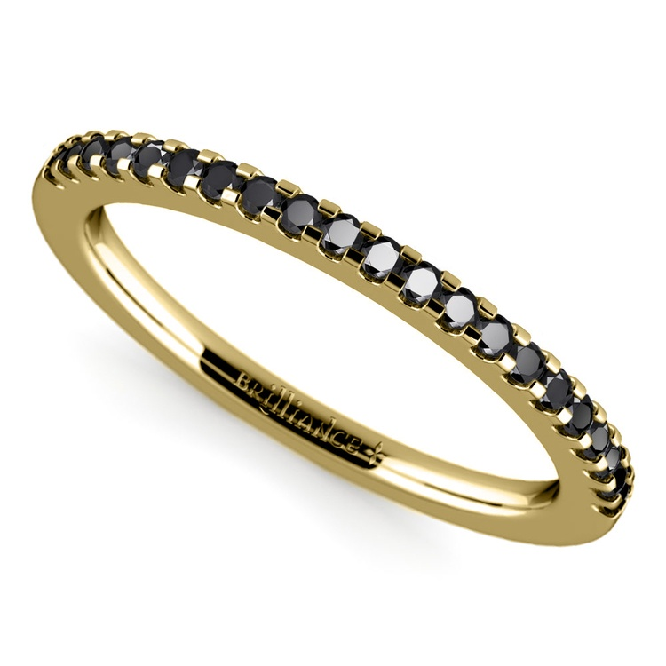 Scallop Black Diamond Wedding Ring in Yellow Gold (1/4 ctw) | 01