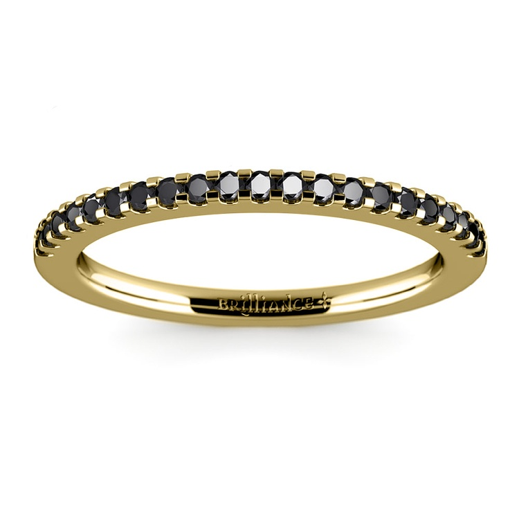 Scallop Black Diamond Wedding Ring in Yellow Gold (1/4 ctw) | 02