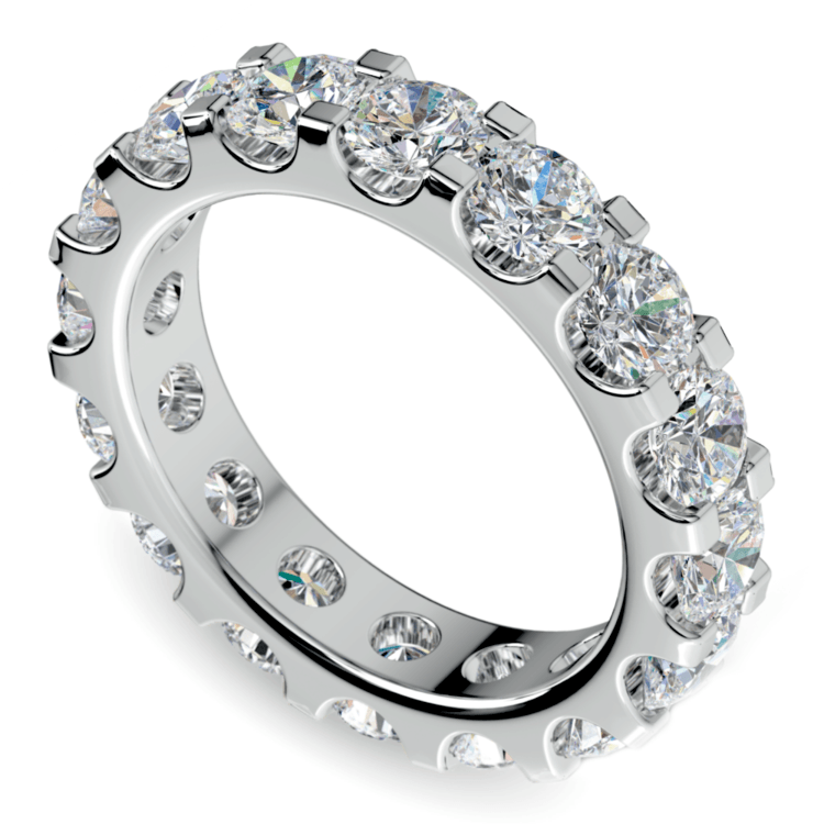 Scallop Diamond Eternity Ring in White Gold (4 ctw) | 01