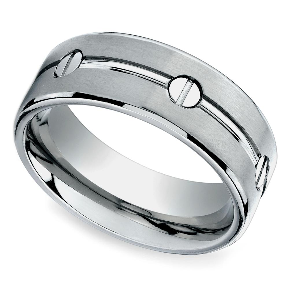 screw design mens wedding ring in titanium - Mens Designer Wedding Rings
