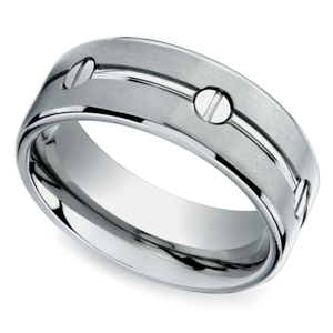 screw design mens wedding ring in titanium - Design A Wedding Ring