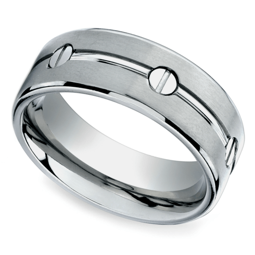 screw design mens wedding ring in titanium - Titanium Mens Wedding Rings