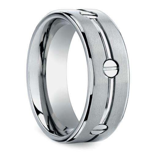 screw design mens wedding ring in titanium - Design Wedding Ring