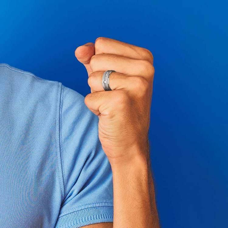 Screw Design Men's Wedding Ring in Titanium   04