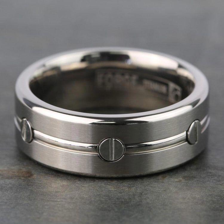 Screw Design Men's Wedding Ring in Titanium   05