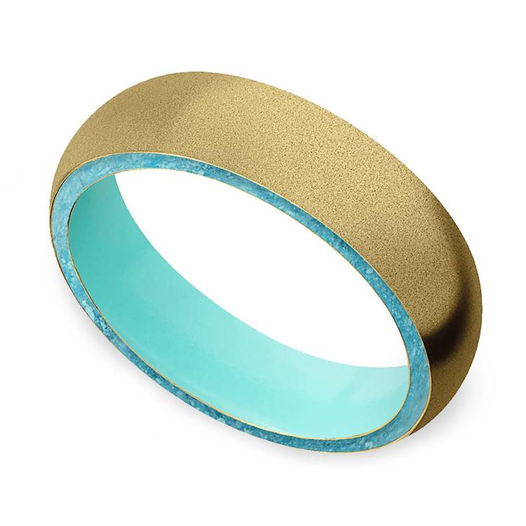 Sea Foam - Sandblasted Gold Men's Band with Turquoise Inlay   01