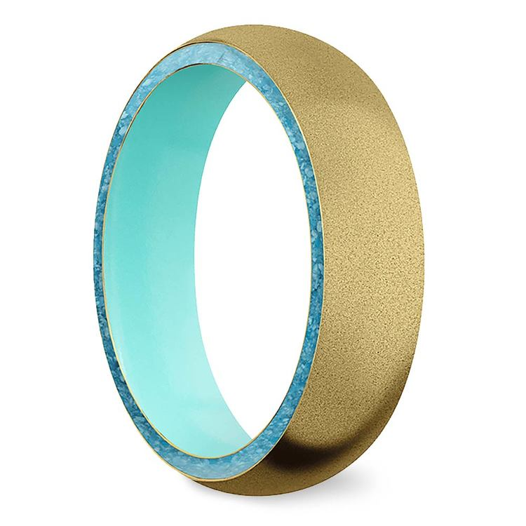 Sea Foam - Sandblasted Gold Men's Band with Turquoise Inlay   02
