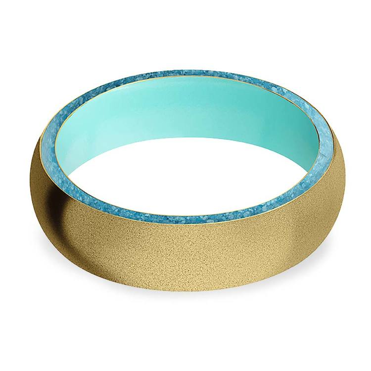 Sea Foam - Sandblasted Gold Men's Band with Turquoise Inlay   03