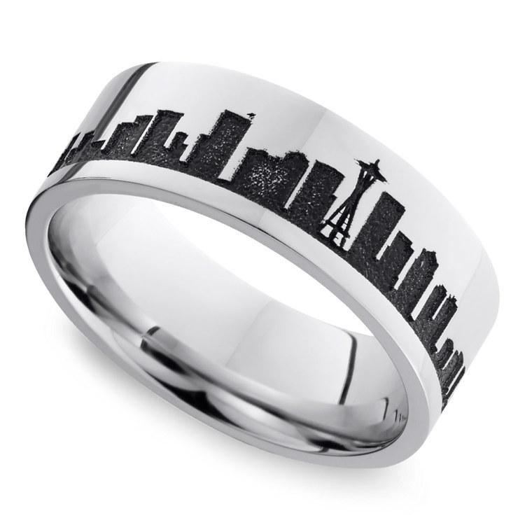 Seattle Skyline Men's Wedding Ring in Cobalt | 01