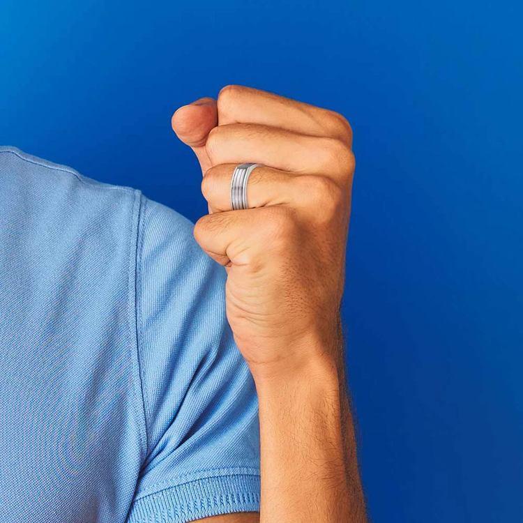 Sectional Men's Wedding Ring in Titanium | 04