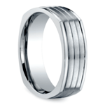 Sectional Men's Wedding Ring in White Gold | Thumbnail 02