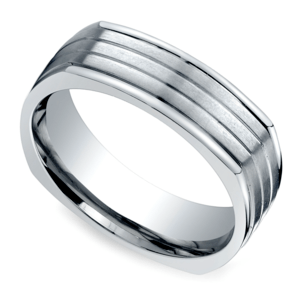 Sectional Men's Wedding Ring in White Gold