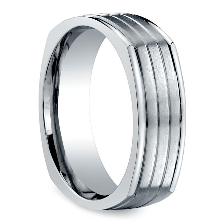 Sectional Men's Wedding Ring in White Gold | 02