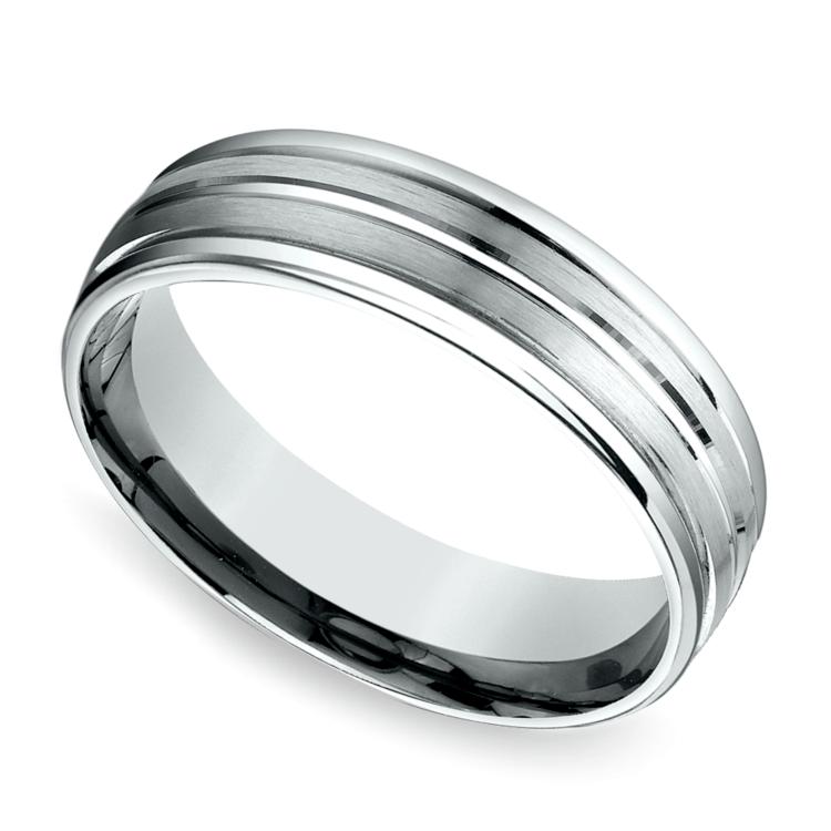 Sectional Satin Men's Wedding Ring in Platinum | 01