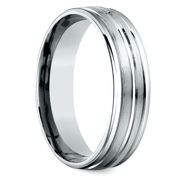Sectional Satin Men's Wedding Ring in Platinum | 02