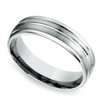 Sectional Satin Men's Wedding Ring in White Gold | Thumbnail 01