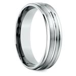 Sectional Satin Men's Wedding Ring in White Gold | Thumbnail 02