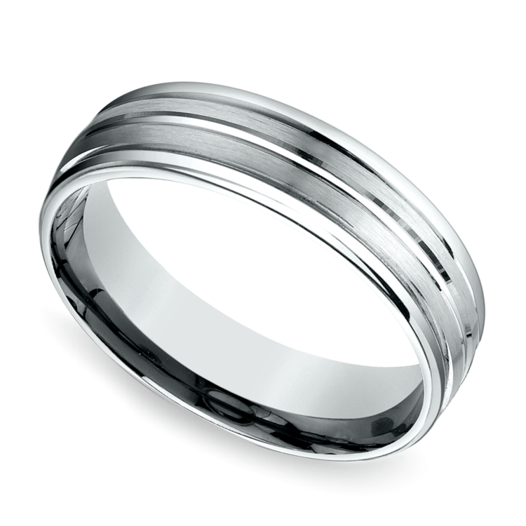 Sectional Satin Men's Wedding Ring in White Gold | 01