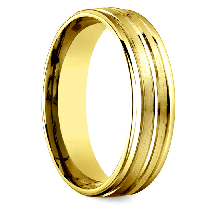 Sectional Satin Men's Wedding Ring in Yellow Gold | 02